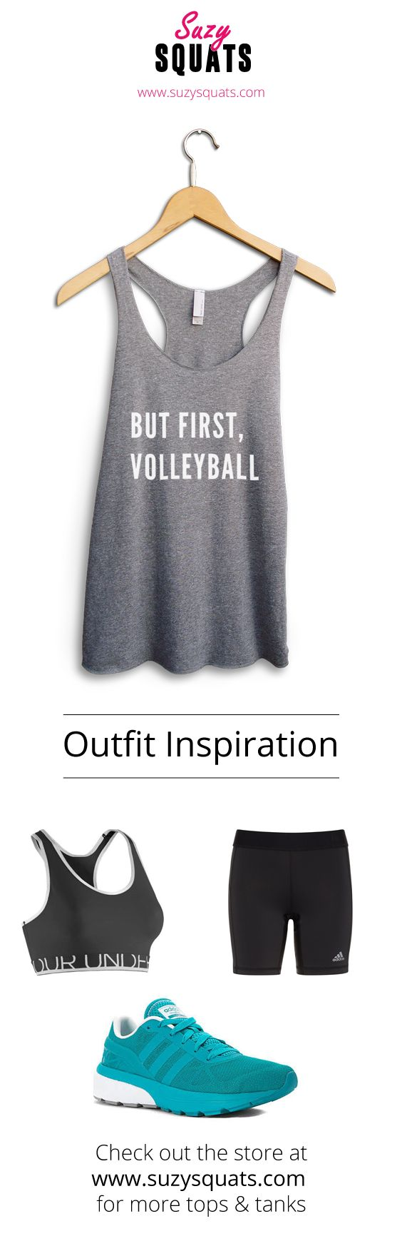Suzy Squats funny volleyball tank top, perfect to wear during your next volleyball game or as a gift for a volleyball loving friend! You can find more funny sports clothing for the volleyball court at the Suzy Squats store by clicking the link above. Volleyball Fan Outfit | Beach Volleyball | SuzyOutfitInspiration
