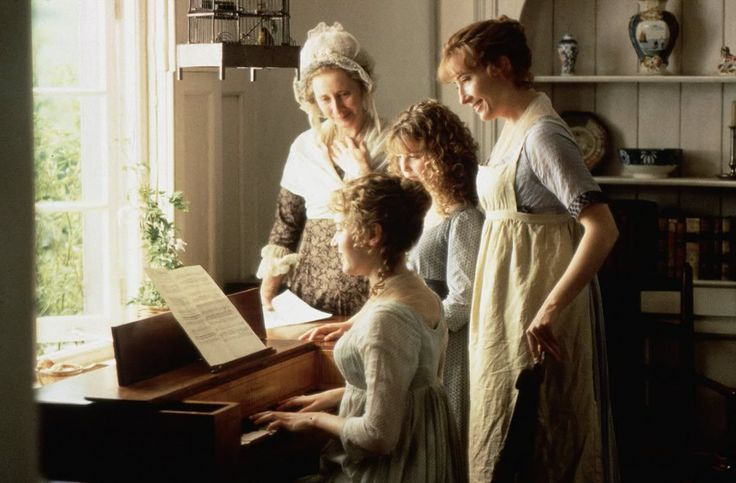 Kate Winslet as Marianne, Gemma Jones as Mrs. Dashwood, Emilie François as Margaret and Emma Thompson as Elinor in Sense and Sensibility (1995).