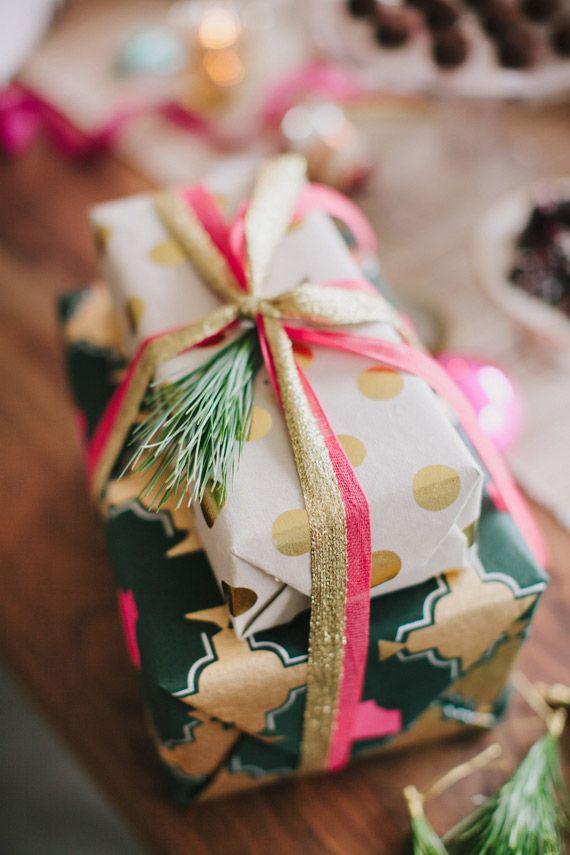 Studio Carta Gold and Cherry ribbon for 100 Layer Cake gift wrap party | Urbanic gift wrap | Photo by Fondly Forever