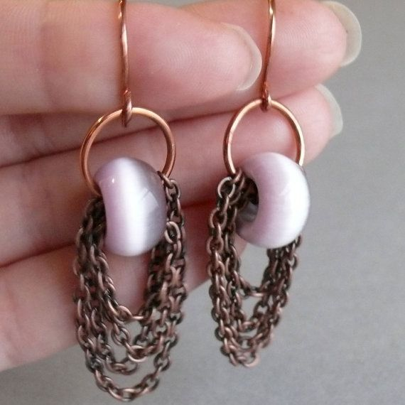 multi layer chain purple cat's eye earrings by WanderingJeweler,