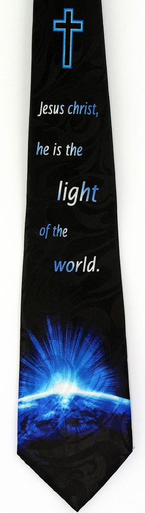 New Chirst Is The World Light Mens Necktie Jesus Christian Religious Neck Tie #StevenHarris #NeckTie