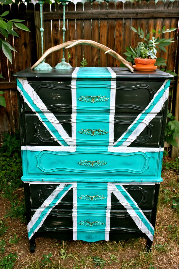 Vintage French Provinical chest-on-chest, tallboy dresser hand painted in  black with beautiful distressing and turquoise Union Jack