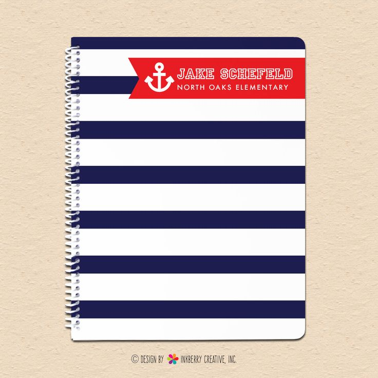 Navy & Red Nautical Stripe - Personalized, Custom Notebook