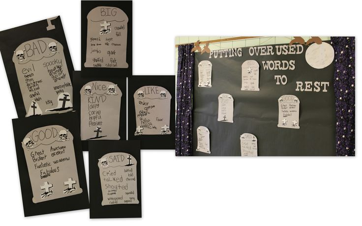 Putting Overused Words To Rest! | Halloween Writing Bulletin Board