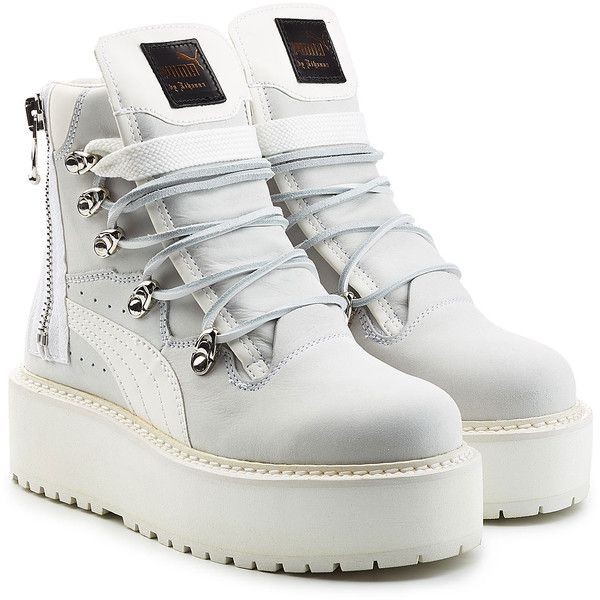 Fenty x Puma by Rihanna Leather Platform Ankle Boots ($280) ❤ liked on Polyvore featuring shoes, boots, ankle booties, white, laced up ankle boots, platform ankle boots, lace-up bootie, leather lace up booties and leather booties
