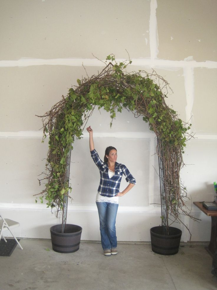 for our wedding, we made our wedding arch out of grapevine ...