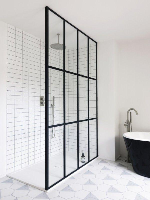 schwarz und weiss Duschtür glas ideen #Design #dekor #dekoration - wohnzimmer design schwarz