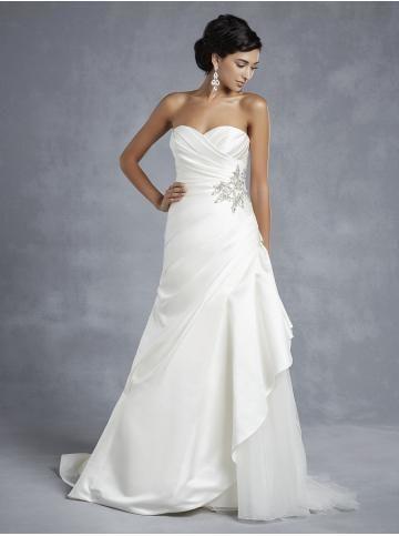 A-linie srdíčko tyl a taft krajka-up on-line bez rukávů úžasné svatební šaty