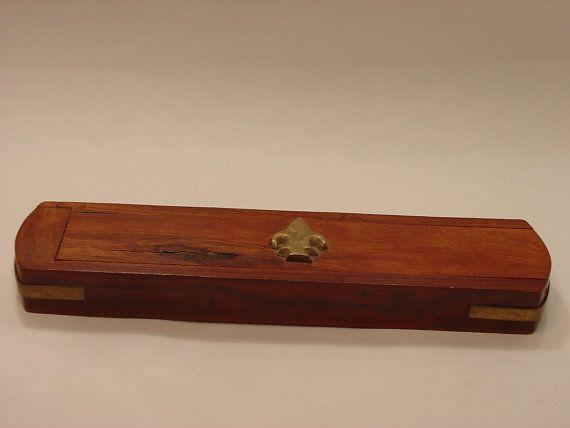 Vintage wood incense box with Fleur de Lis made by myitaliandreams