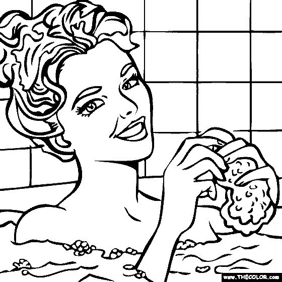 Roy lichtenstein woman in bath drawing lessons daddy for Roy lichtenstein coloring pages