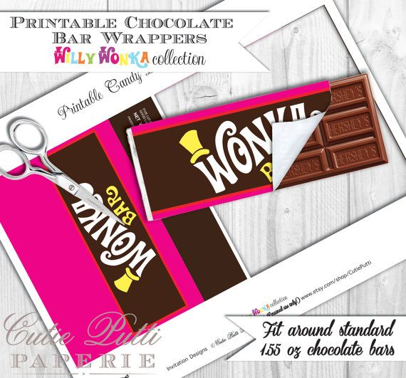 Willy Wonka Party, Candy Party - PRINTABLE CHOCOLATE Bar WRAPPERS & Golden Tickets - Cutie Putti Paperie