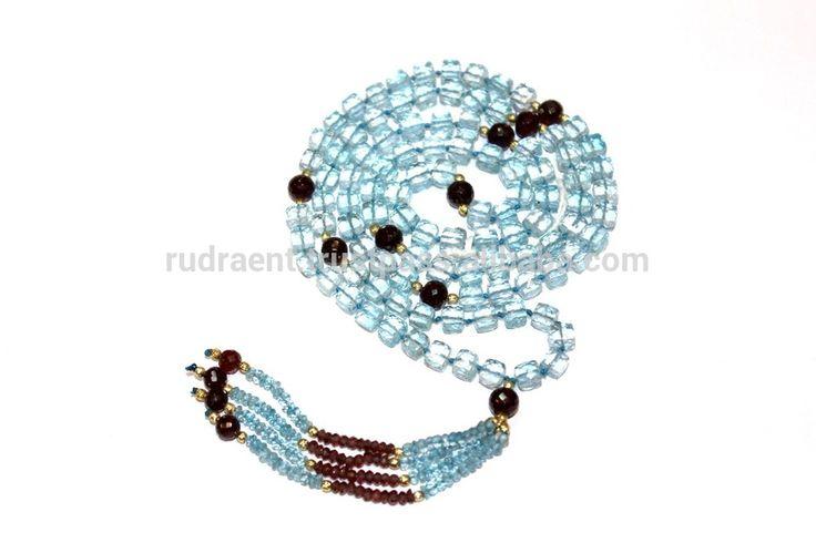Swiss Blue Topaz & Garnet Gemstone Tassel Yoga Mala, 108 Faceted Beads Japa Mala, Knotted Mala for Women