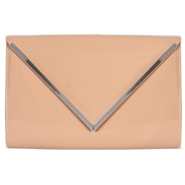 Neve Patent Nude Clutch (200 MXN) ❤ liked on Polyvore featuring bags, handbags, clutches, party clutches, red patent handbag, red patent purse, patent leather purse and party handbags