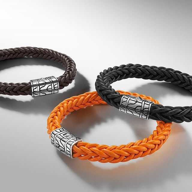 Four hundred Limited Edition bracelets are hand-woven in Bali through a technique developed exclusively to mimic our most iconic men's chain. Shop and add the 40th Anniversary Leather Bracelet to your collection by tapping on the link in our bio. #menswear #MyJohnHardy