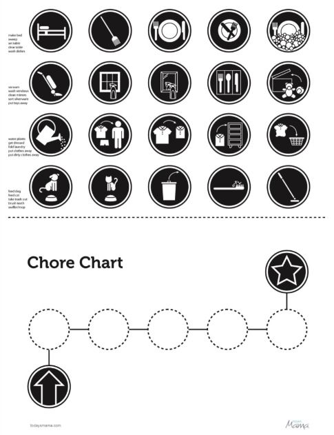 Printable Chore Chart for non-readers now in black and white.