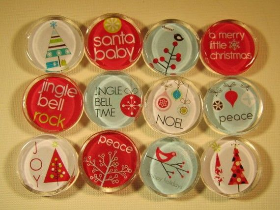 12 Christmas Decoration Fridge Magnets Magnets Set by DLRjewelry