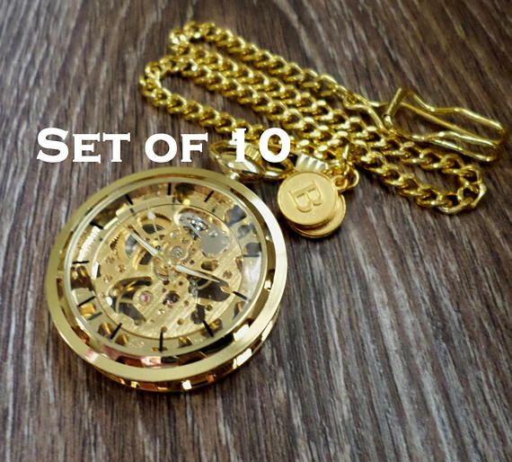 Gold Pocket Watch Set of 10 Personalized Pocket Watches with