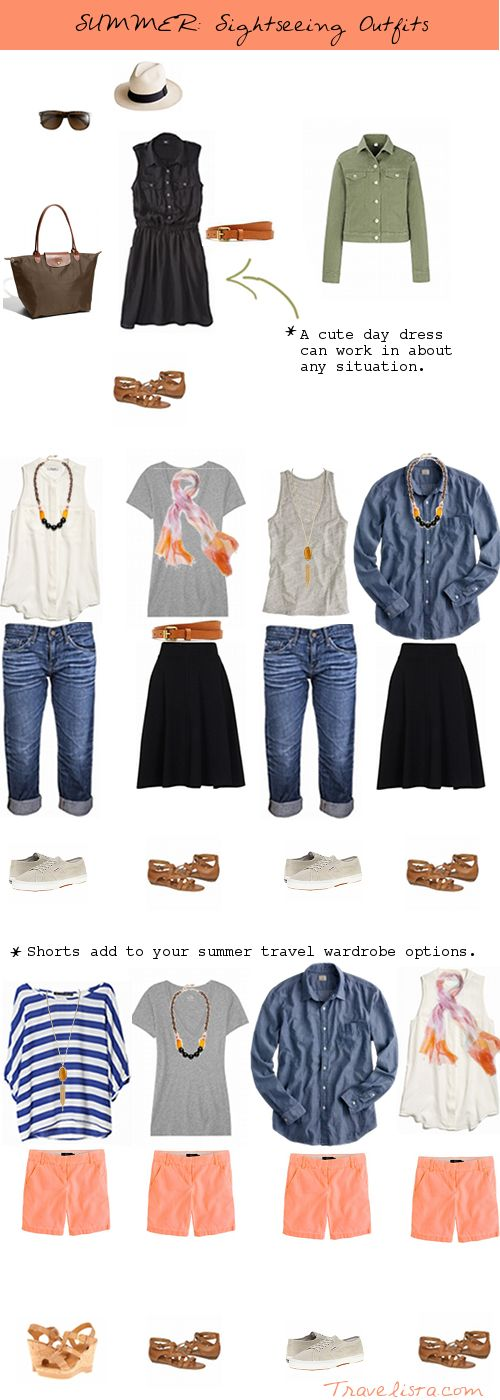 How to Pack for Summer Travel -- Sightseeing outfits