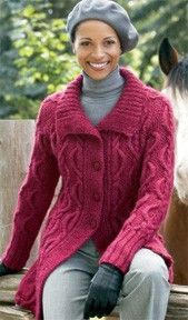 Follow this free knit pattern to create a long cabled cardigan using Patons SWS worsted weight yarn.