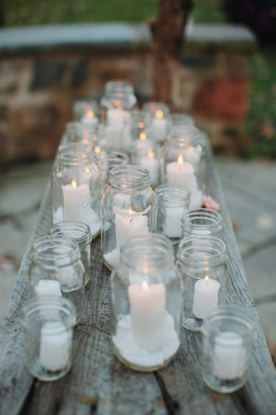 Candle decor: http://www.stylemepretty.com/little-black-book-blog/2014/12/23/rustic-elegance-at-sweetwater-farm/ | Photography: Ciro - http://cirophotography.com/