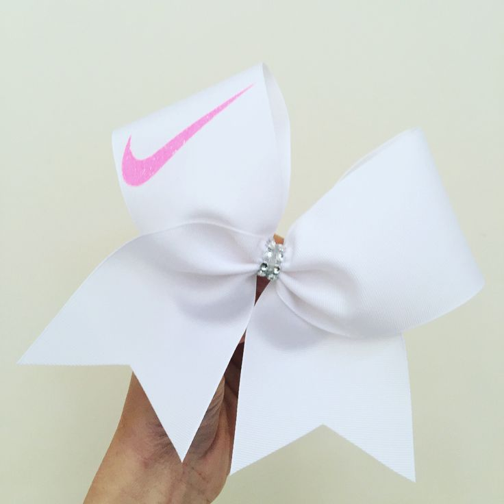 Big Neon Pink Glitter Swoosh Chwer Bow! White stiff bow! Ponytail holder attached! Free Shipping!                                                                                                                                                                                 More
