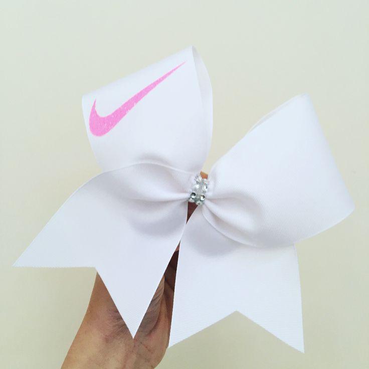 Neon Pink Glitter Swoosh White Cheer Bow