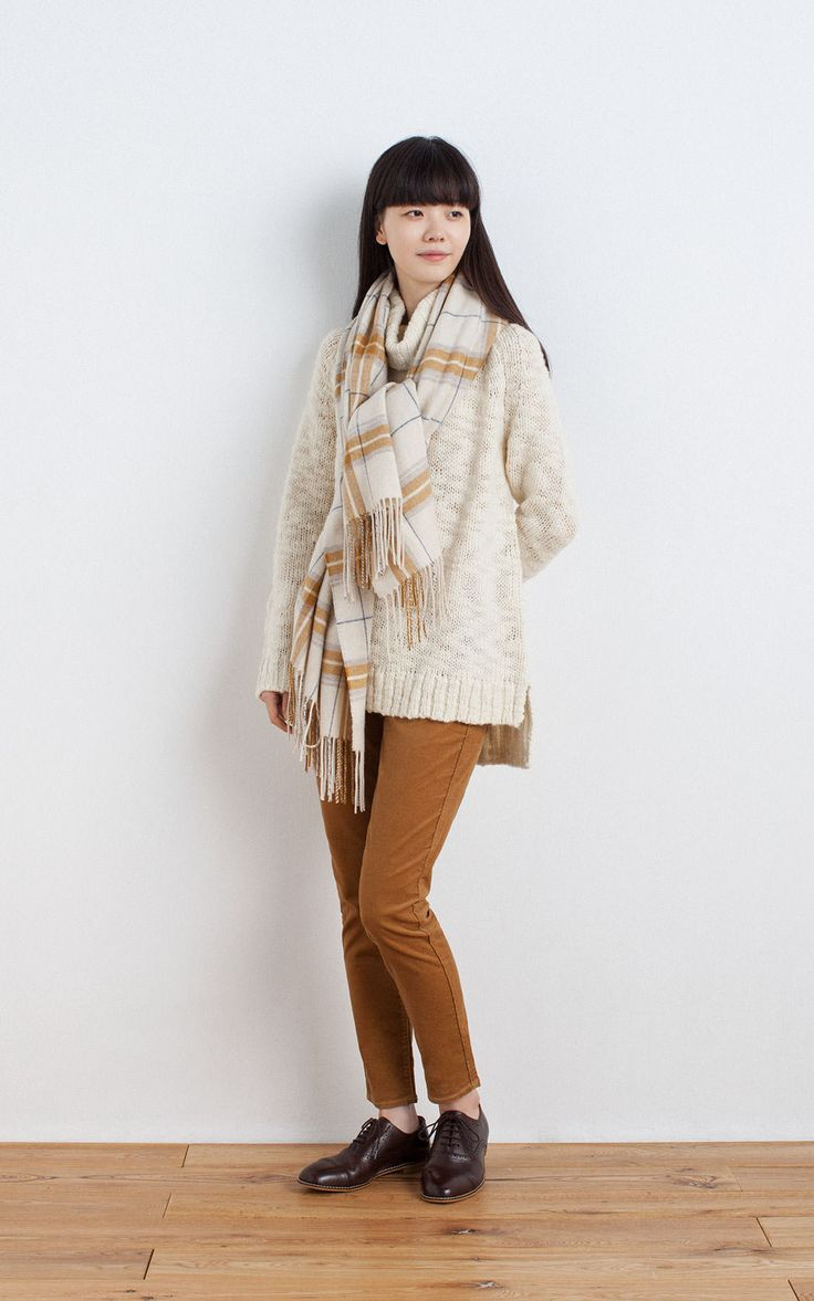 MUJI | LARGE WOOL CAPE STOLE WITH ARM HOLE (PATTERN) | OGC STRETCH CORDUROY SKINNY ANKLE LENGTH TROUSERS