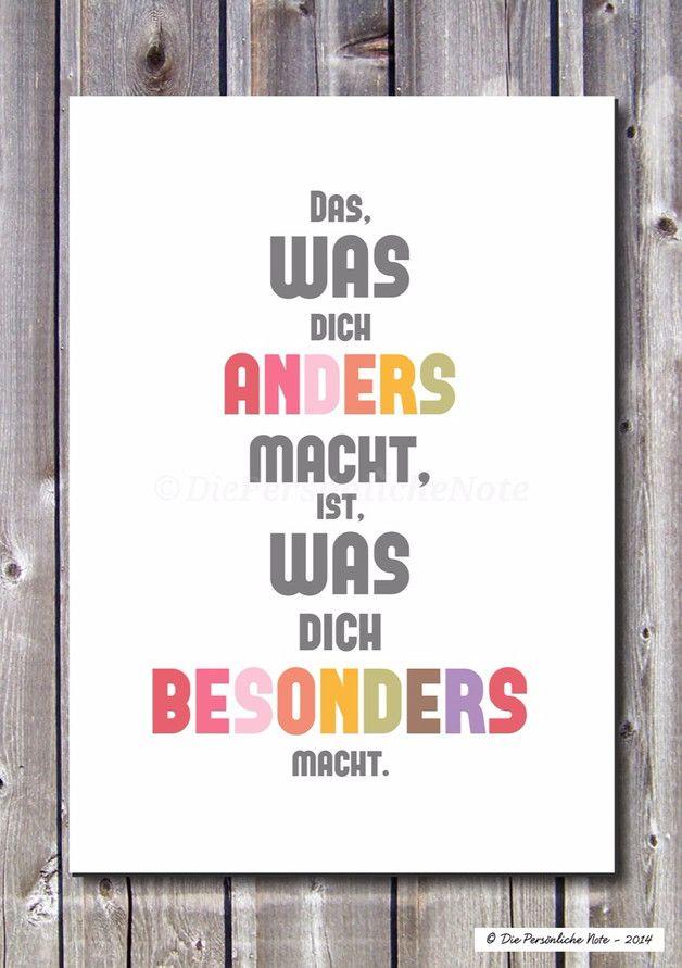 Du bist anders? Macht doch nichts – im Gegenteil: Wer anders ist, der ist besonders!   Dieser bunte und moderne Typografie-Druck erinnert dich immer wieder daran: Du bist gut genauso wie du… – Sonja