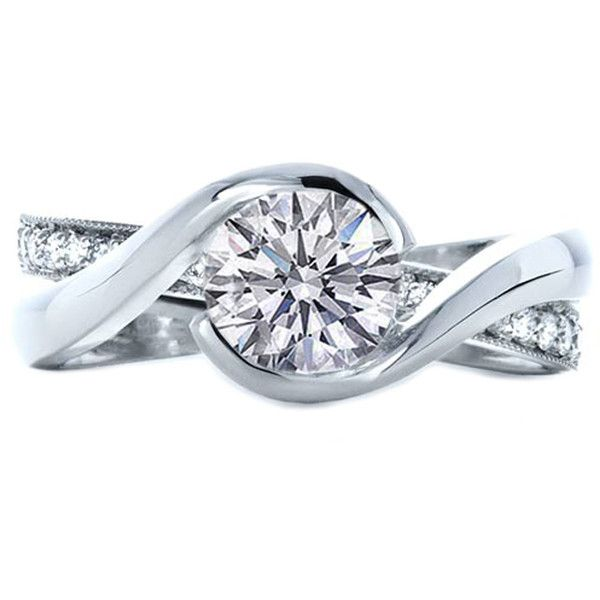 I Kind Of Like The Off Kilter Look Way These Bands Interlock Engagement Ring Twisted Criss Cross Pave Diamonds Interlocking
