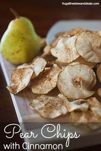 Want a light snack or #dessert?  These Pear Chips with #cinnamon are super yummy and easy to make #healthy