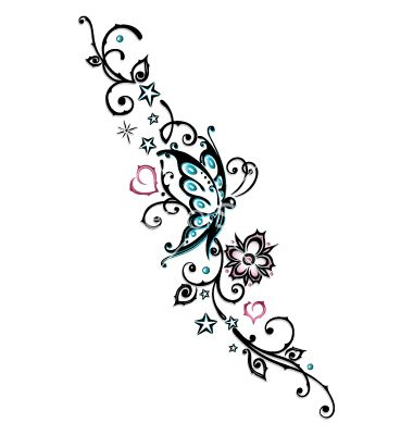 Tribal+flower+butterfly+tattoo+style+vector+1534763+-+by+christine-krahl on VectorStock®