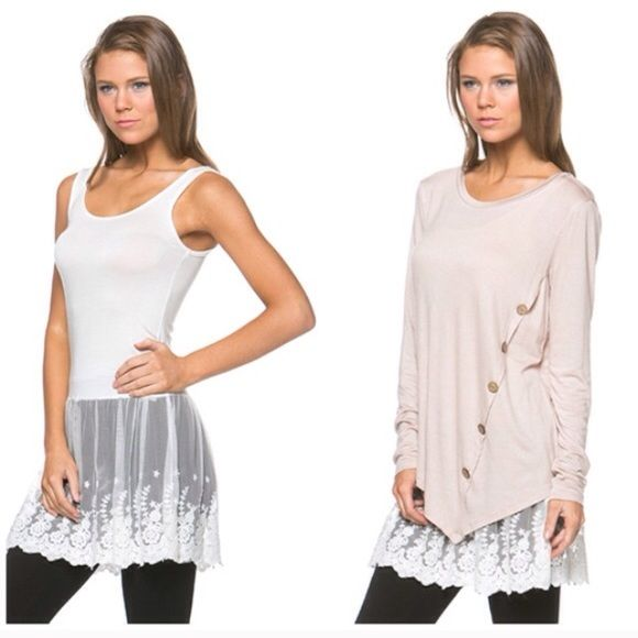 ❗️LAST ONES❗️ Gray or White Tunic Lace Extender Lace extender available in S M L in gray or white. Perfect under tunics for a little extra detail or to cover the bum! Brand new! Only left in S and M in white or small in gray Tops Tunics