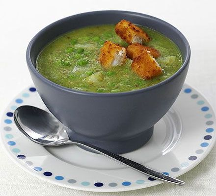 Pea & pesto soup with fish finger croûtons  This is absolutely delicious, really filling and great for lunch or supper.