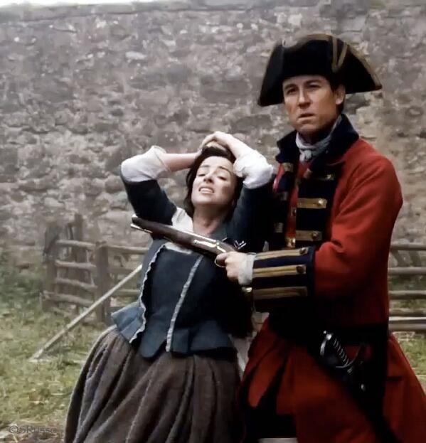 "Captain Jonathan ""Black Jack"" Randall at Lallybroch, threatening Jenny Fraser in front of her brother Jamie. | Outlander S1E2 'Castle Leoch' on Starz | Costume Designer TERRY DRESBACH"