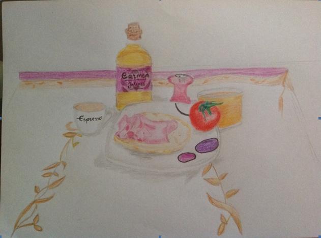 Dibujo de mi desayuno, por Alejandro Romero.