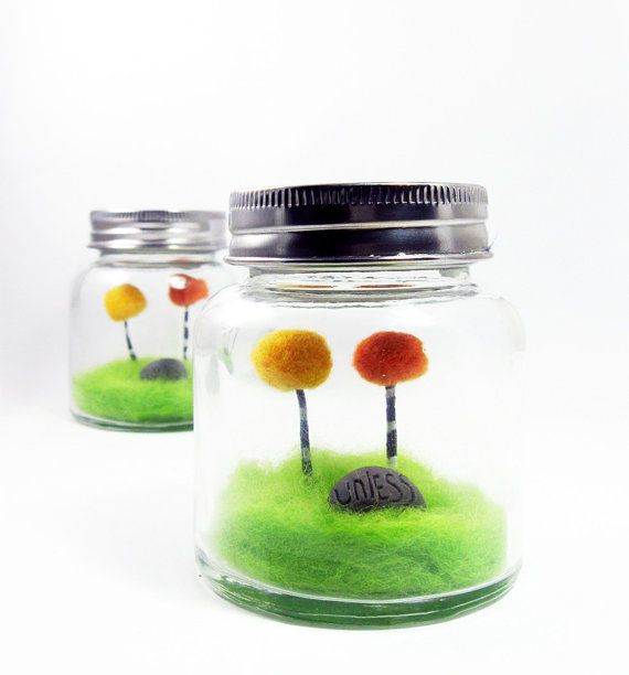 Needle Felted Truffula Tree Lorax Inspired Jar Terrarium Orange and yellow Home Decoration