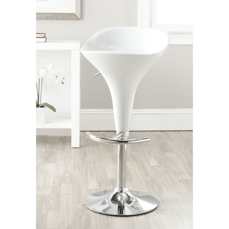 Safavieh Yatim White Adjustable 24-32-inch Bar Stool (FOX7503A) (Chrome)