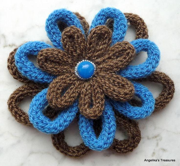 Angelika's Treasures: Punnik Bloemen - Spool Knitted flower