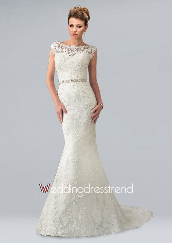 Sexy Sheer Neckline Mermaid Lace Bridal Gown