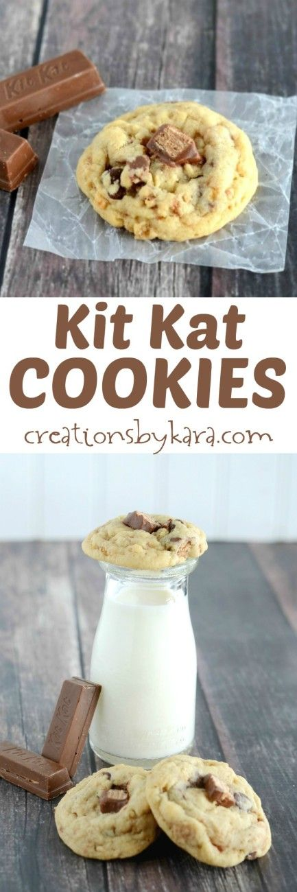Love Kit Kat bars? Then you must try the recipe for these Chocolate Chip Kit Kat Cookies. A fun surprise in every bite!