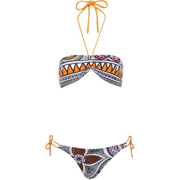 Miss Selfridge Lilac Aztec Bandeau Bikini ($46) ❤ liked on Polyvore featuring swimwear, bikinis, bathing suits, swimsuits, swim, assorted, halter swimsuit, bandeau bikini, swimsuits two piece and bandeau swimsuit
