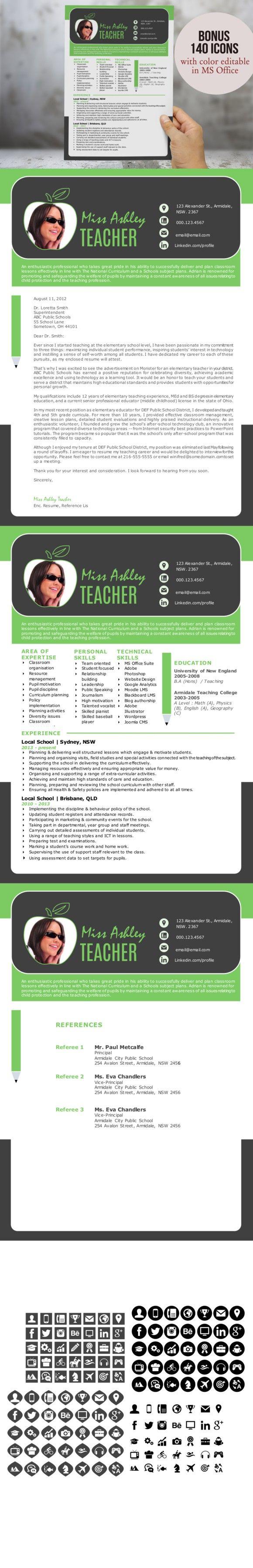 3 in 1 modern Word teacher resume. Teaching Resume. $12.00                                                                                                                                                                                 More