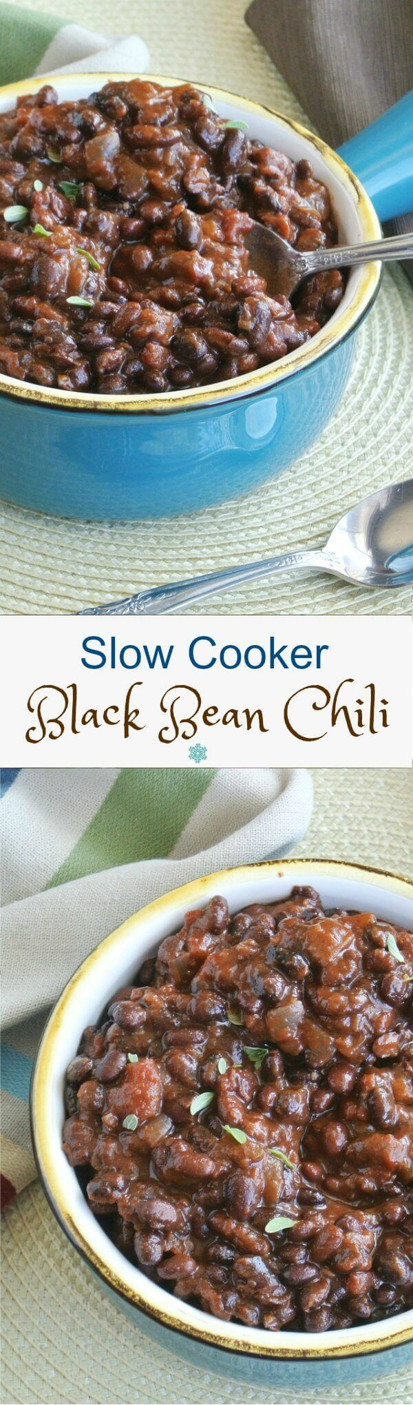 Slow Cooker Black Bean Chili is a great tasting slow cooker dinner and it costs just pennies. The chili has lots of spices for all kinds of flavor. ~ http://veganinthefreezer.com