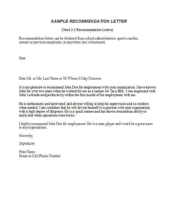 Recommendation Letter Sample Employee
