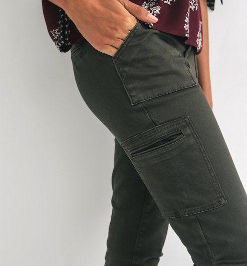 Pantaloni cargo slim kaki - Promod