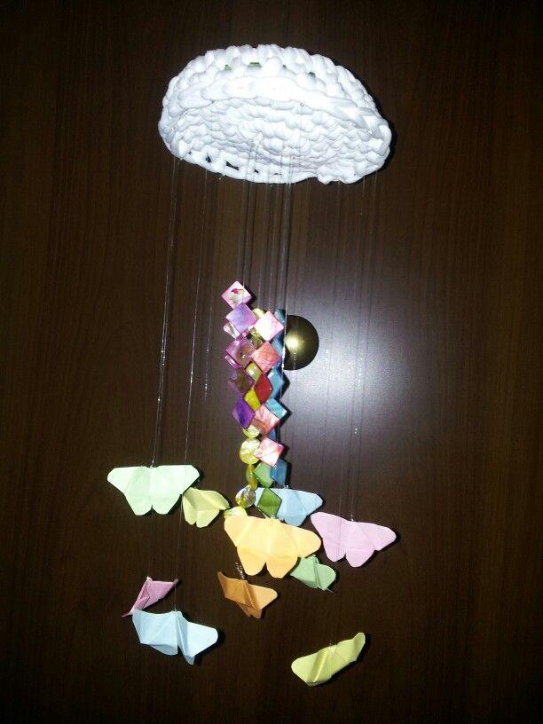 Giostrina farfalline ... Realizzata con un cd ricoperto di fettuccia lavorata ad uncinetto. ... madreperla colorate che scendono e farfalline di carta .... create utilizzando i foglietti colorati dei blocchetti appunti ;) Viva la fantasia !!!!