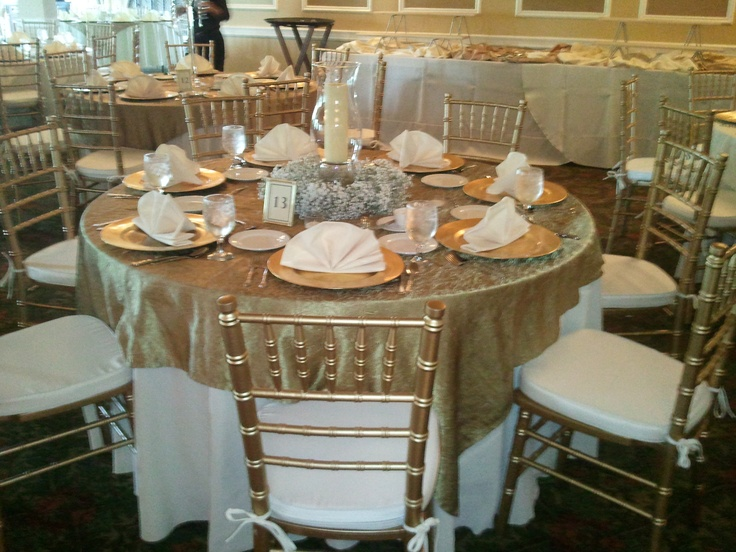 Our elegant chiavari chairs showcased in Gold ~ perfect for fall color scheme ~