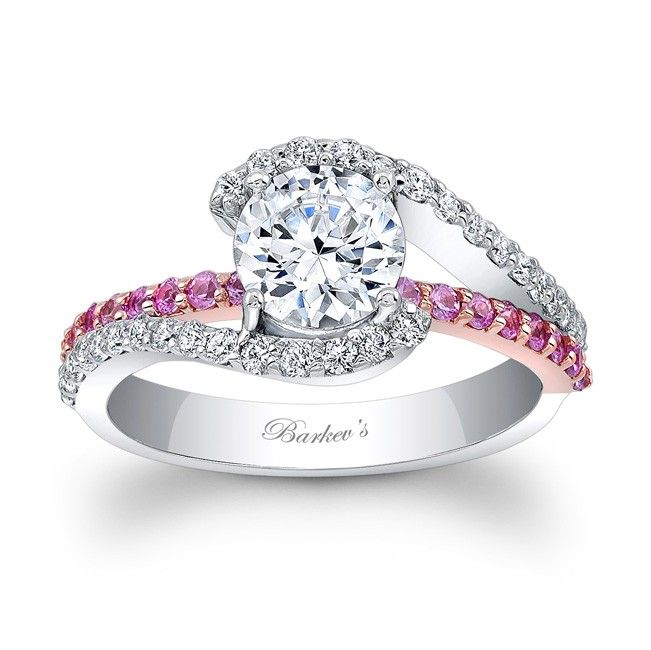 White & Rose Gold Engagement Ring with Pink Sapphires 7848LPSW