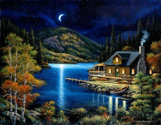 Moonlit Cabin via MuralsYourWay.com