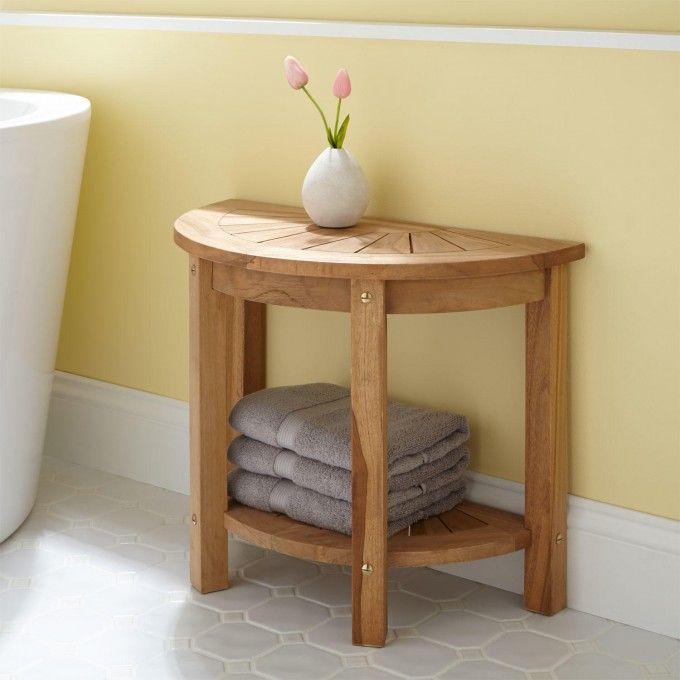 Surya Small Half-Circle Teak Shower Seat